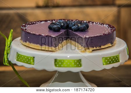 Delicious sweet baked cake with fresh fruit