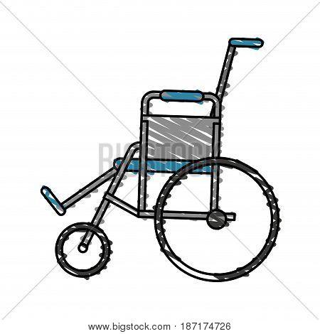 color crayon stripe cartoon wheel chair medical vector illustration