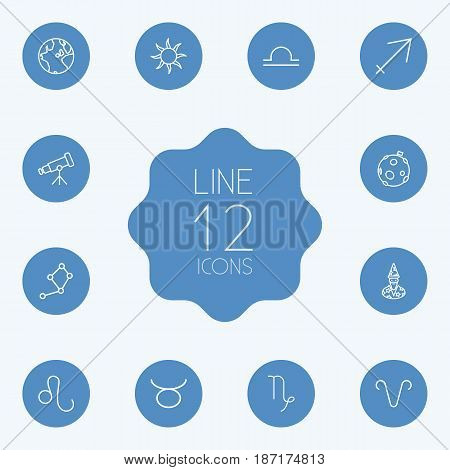 Set Of 12 Horoscope Outline Icons Set.Collection Of Constellation, Taurus, Telescope And Other Elements.