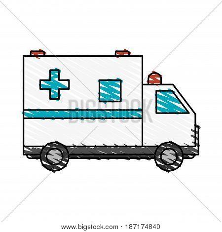 color crayon stripe cartoon ambulance truck with cross symbol vector illustration