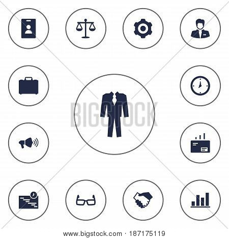 Set Of 13 Enterprise Icons Set.Collection Of Diagram, Partnership, Mechanism And Other Elements.