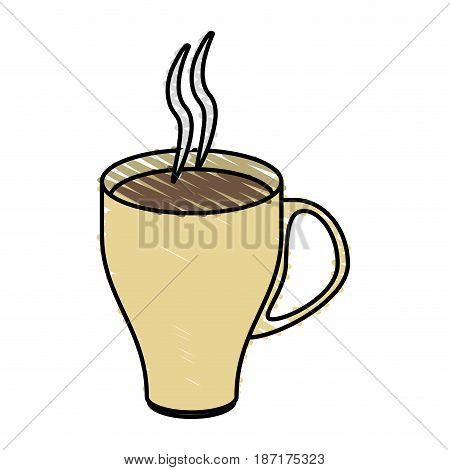 color crayon stripe cartoon crockery modern cup of coffee with steam vector illustration