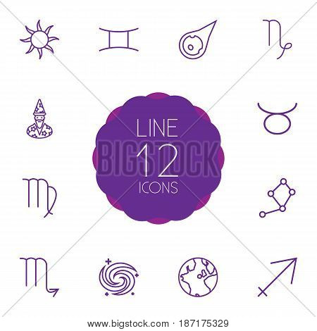 Set Of 12 Galaxy Outline Icons Set.Collection Of Astrologer, Asteroid, Sun And Other Elements.