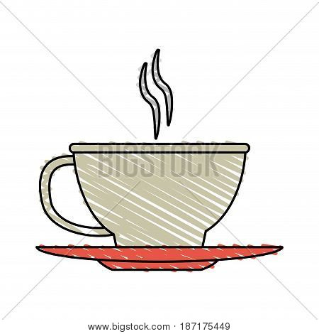 color crayon stripe cartoon cup of coffee with steam on dish crockery vector illustration