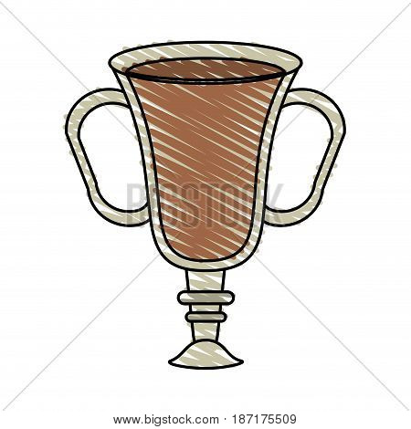 color crayon stripe cartoon transparent glass cup of coffee with double handles vector illustration