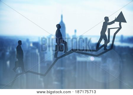 Abstract image of businessmen silhouettes walking up chart arrow on city background. Success and teamwork concept