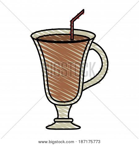 color crayon stripe cartoon glass cup of cappucino with straw vector illustration