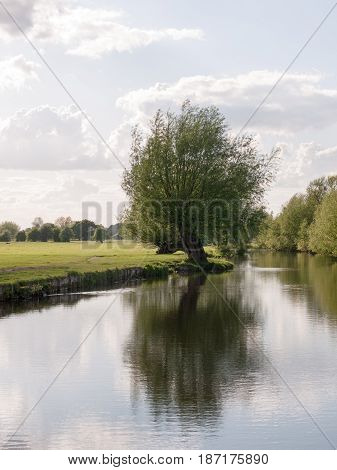 A Riverside Open Scene Outside In The Country In Essex England Uk With No People And O Boats, Very L