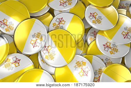 Vatican Badges Background - Pile Of Vatican Flag Buttons.