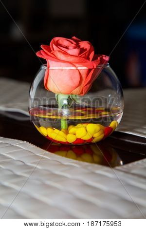 flower rose in bowl. table decoration