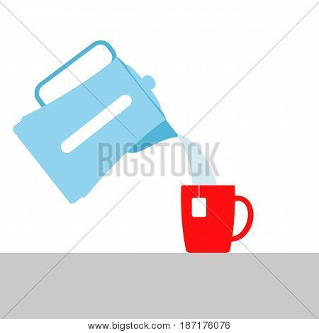 vector illustration. the boiling water pouring from the electric kettle into the Cup. brewing tea . hot beverage.