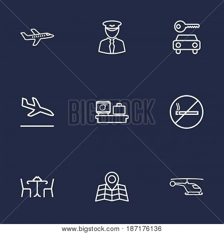 Set Of 9 Aircraft Outline Icons Set.Collection Of Plane, Sit, Car Rent And Other Elements.