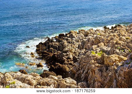 Waves Break On Rocky Shore Rethymno, Crete, Greece