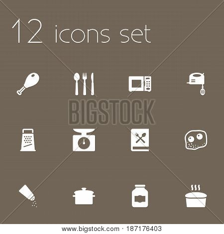 Set Of 12 Culinary Icons Set.Collection Of Silverware, Cooking Instruction, Electronic Oven And Other Elements.