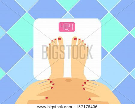 illustration of Pregnant female legs and tummy on the floor scales. weight watcher.  Pregnant woman the concept of a healthy lifestyle.