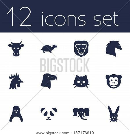 Set Of 12 Alive Icons Set.Collection Of Rooster, Trunked Animal, Bunny And Other Elements.