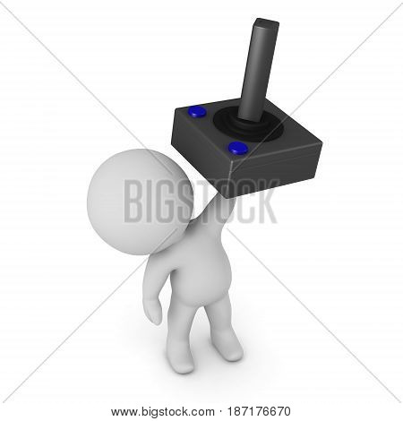 3D character holding up a video game joystick. Isolated on white background.