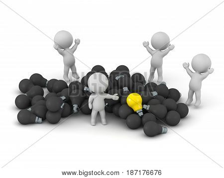 3D characters with many dark bulbs and one yellow light bulb. Isolated on white background.
