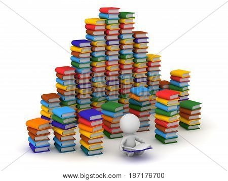 3D character reading and surrounded by large stacks of colorful books. Isolated on white background.