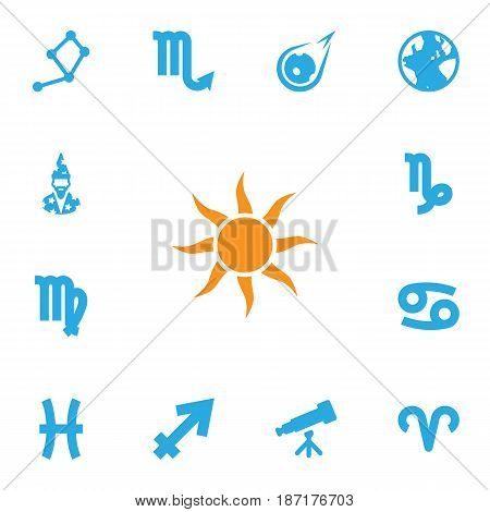 Set Of 13 Astrology Icons Set.Collection Of Comet, Horoscope, Ram And Other Elements.