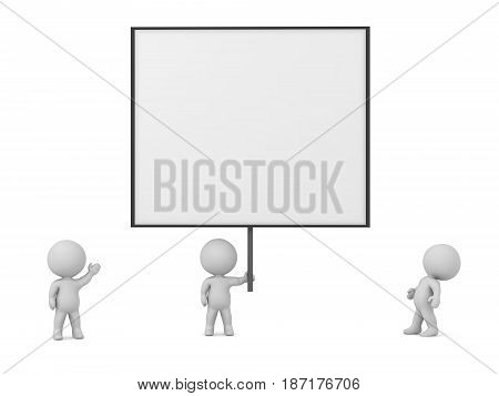 Small 3D characters and a large sign. Isolated on white background.