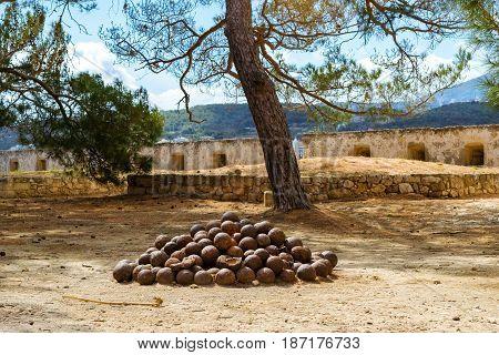 Old Cannonballs In Fortezza Castle Rethymno, Crete