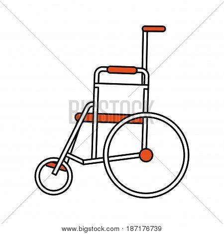 color silhouette image cartoon wheel chair medical vector illustration