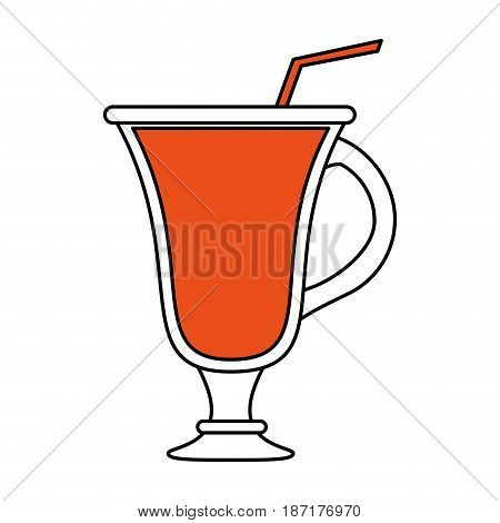 color silhouette image cartoon glass cup of cappucino with straw vector illustration