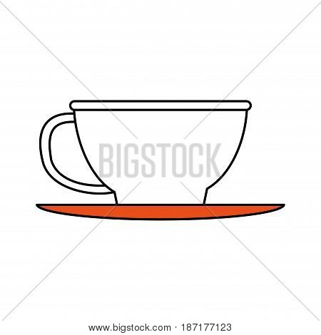 color silhouette image cartoon porcelain cup in dish crockery vector illustration