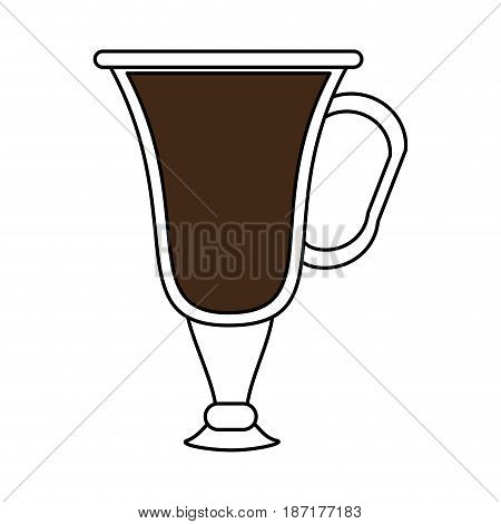 color silhouette image cartoon transparent glass cup of coffee with handle vector illustration