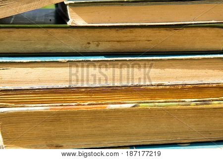 Stack of the old books. Books background