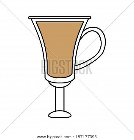 color silhouette image cartoon transparent modern glass cup of coffee with handle vector illustration