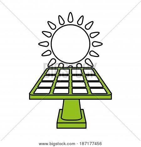 color silhouette image cartoon solar energy panel on platform with shape sun vector illustration