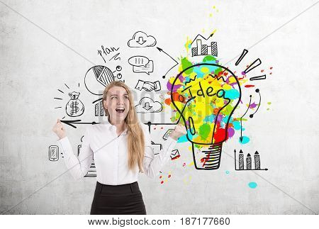 Happy Blond Woman And Bright Business Idea Icons