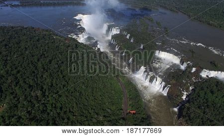 Aerial View of Iguazu Falls, on the border of Brazil and Argentina