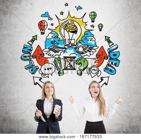 Two blond businesswomen identical twins are standing near a concrete wall. One is screaming the second is holding coffee. Large business idea sketch