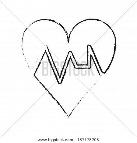 blurred silhouette image cartoon shape heart with life signs vector illustration