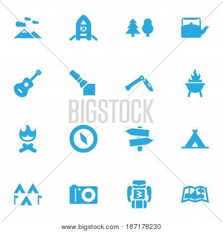 Set Of 16 Outdoor Icons Set.Collection Of Tree, Flashlight, Landscape Elements.