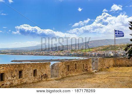 Greek Flag In Castle Fortezza. Rethymno, Crete
