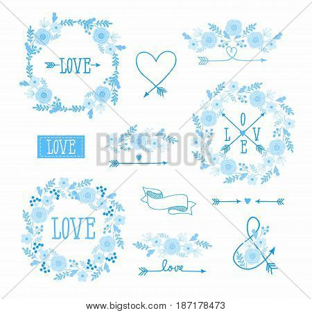 set of elements for design - arrows, hearts, love,  circlet of flowers. monochrome.
