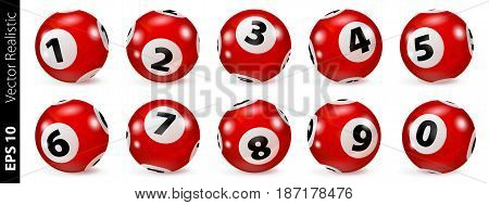 Lottery Number Balls. Bingo balls set. Bingo balls with numbers. Set of red balls. Realistic vector. Lotto concept. Red Bingo Ball.