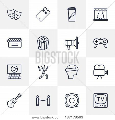 Set Of 16 Entertainment Outline Icons Set.Collection Of Bullhorn, Theater, Game Controller And Other Elements.