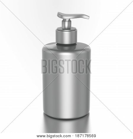 3D illustration silver bottle with liquid soap on a white background