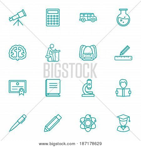 Set Of 16 Education Outline Icons Set.Collection Of Test Tube, Encyclopedia, Calculator And Other Elements.