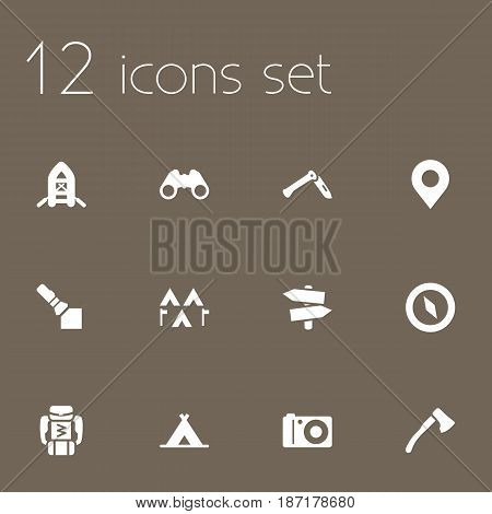 Set Of 12 Camping Icons Set.Collection Of Signpost, Backpack, Tent And Other Elements.