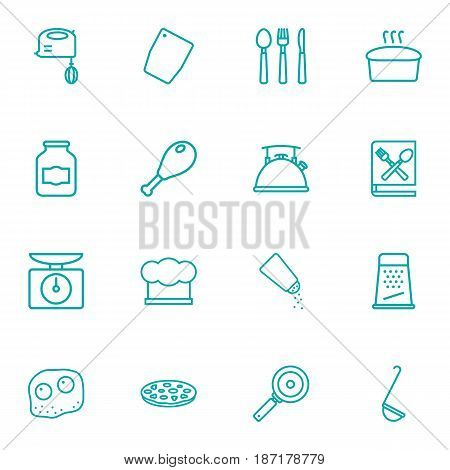 Set Of 16 Culinary Outline Icons Set.Collection Of Cutlery, Hat, Scales And Other Elements.