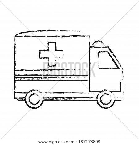 blurred silhouette image cartoon ambulance truck with cross symbol vector illustration