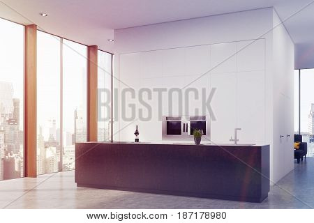 Corner of a modern kitchen interior with a black bar stand and two ovens built in a blank white wall. 3d rendering mock up toned image
