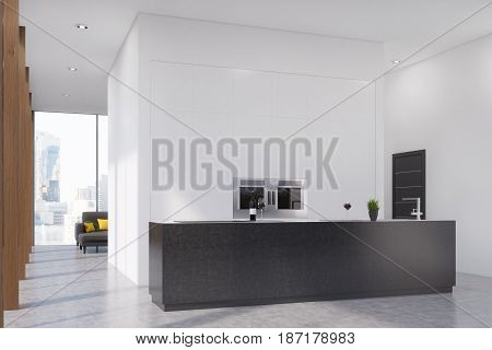 Side view of a modern kitchen interior with a black bar stand and two ovens built in a blank white wall. 3d rendering mock up