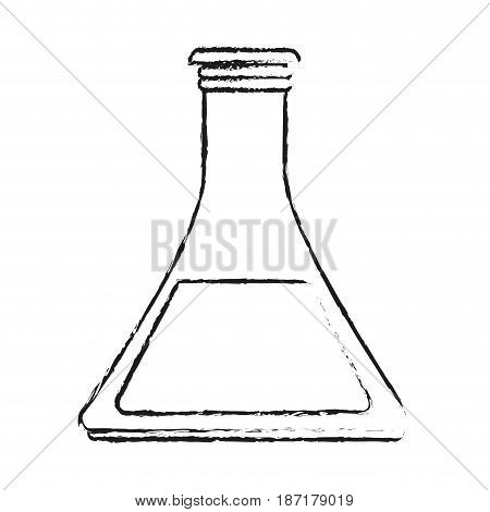 blurred silhouette image cartoon glass beaker for laboratory with liquid inside vector illustration